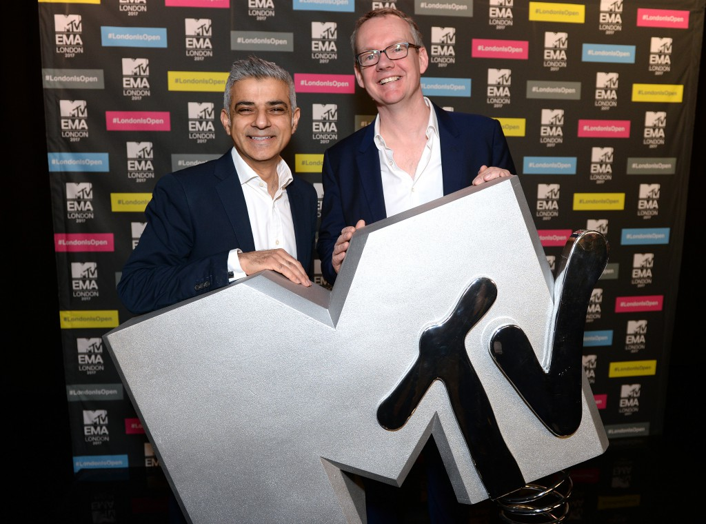 LONDON, ENGLAND - FEBRUARY 14:  Mayor of London Sadiq Khan and Dave Lynn, CEO of Viacom International Media Networks at a photocall to announce London as the host city for the 2017 MTV EMA's at MTV London on February 14, 2017 in London, England.  (Photo by Anthony Harvey/Getty Images for MTV) *** Local Caption *** Sadiq Khan; Dave Lynn