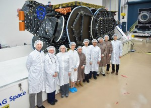AsiaSat and SSL teams with the AsiaSat 9 payload before shipment Photo courtesy of SSL