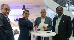 Tata Sky and Irdeto sign contract to launch next generation OTT media services at IBC 2017. From Left to Right - Sanjiv Kainth, Country Manager for India at Irdeto; Doug Lowther, CEO of Irdeto; Harit Nagpal, CEO of Tata Sky; and A. Arun Kumar, Senior Vice President of Supply Chain Services at Tata Sky.